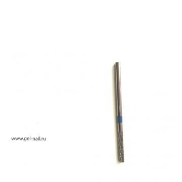 Фреза твердосплавная, синяя насечка, тупой конец 14мм