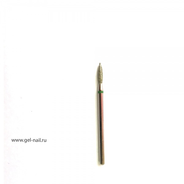 Фреза алмазная, пламя, зеленая насечка, диаметр 3мм, рабочая поверхность 9мм