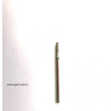 Фреза алмазная, закругленный конус, зеленая насечка, диаметр 3мм, рабочая поверхность 7мм
