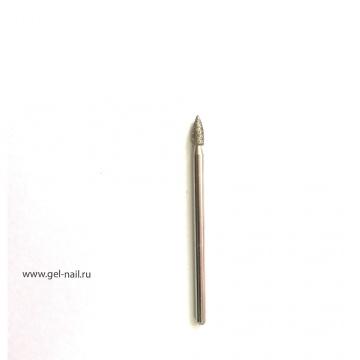 Фреза алмазная, пламя, диаметр 4мм, рабочая поверхность 6мм