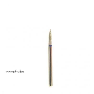 Фреза алмазная, пламя, синяя насечка, диаметр 1мм, рабочая поверхность 8мм