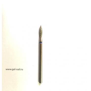 Фреза алмазная, пламя, синяя насечка, диаметр 3мм, рабочая поверхность 9мм