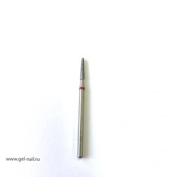 Фреза алмазная, закругленный конус, красная насечка, диаметр 2мм, рабочая поверхность 1мм